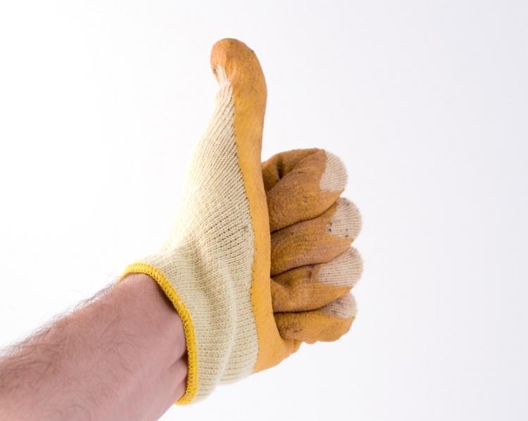 gloved hand